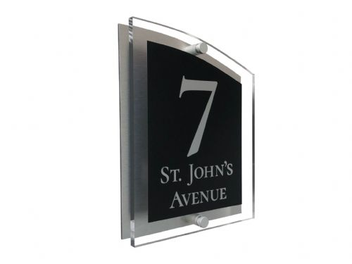 Arc Shape - Clear Acrylic House Sign - Black Colour with Silver text in Font  2